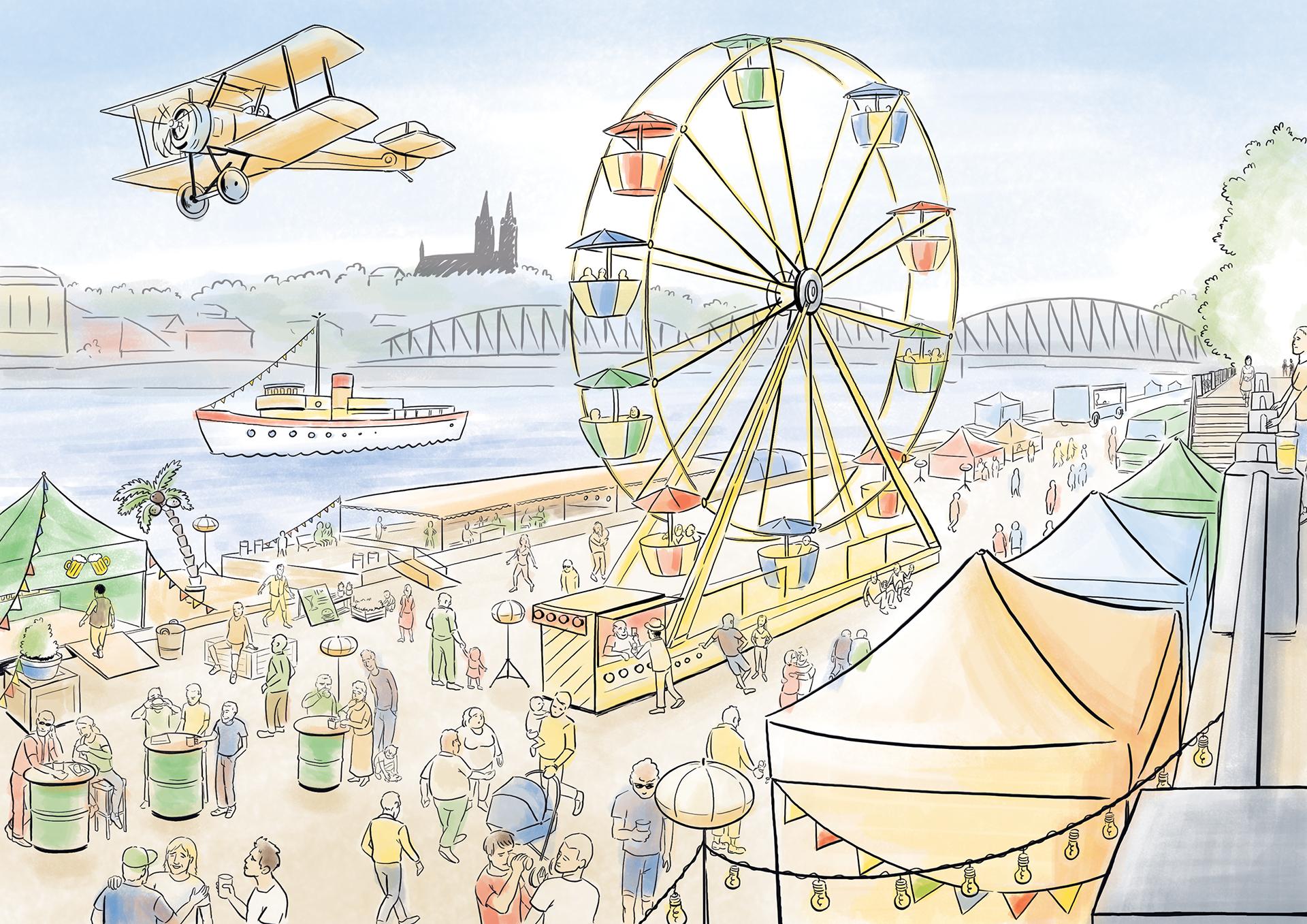 Digitální kresba pro River food festival na Náplavce